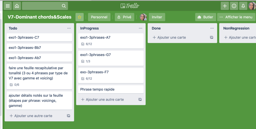 Planning Le Piano Jazz agile sur Trello